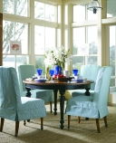 These slipcovered dining chairs from Stanley Costal Living can be swapped out for a whole new look