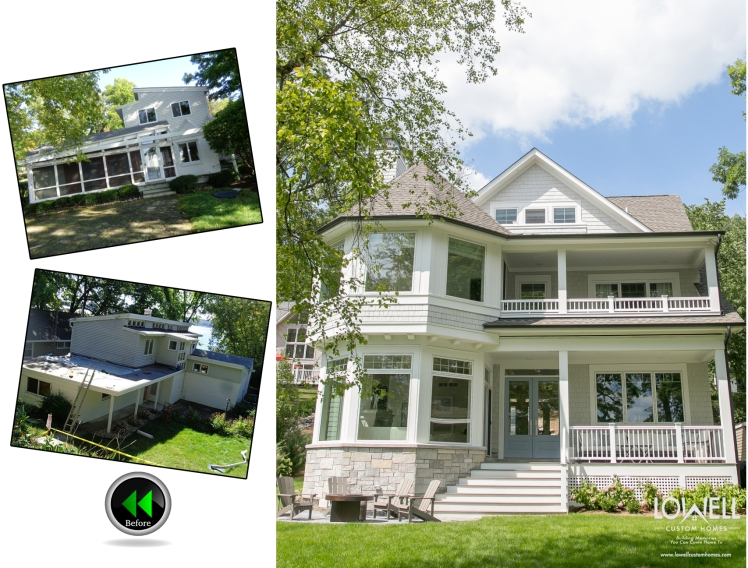 Before and After original lake home tear down for new home by Lowell Custom Homes Lake Geneva WI