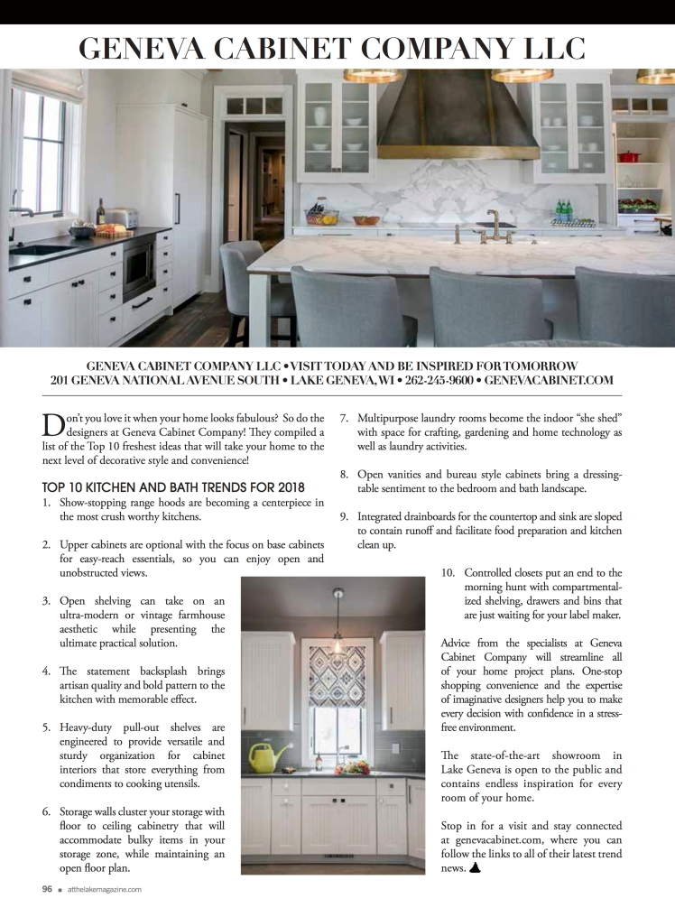 Advertorial for Geneva Cabinet Company Lake Geneva, WI