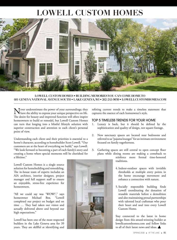 Advertorial for Lowell Custom Homes